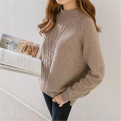 PEPER - Mock-Neck Wool Blend Knit Top