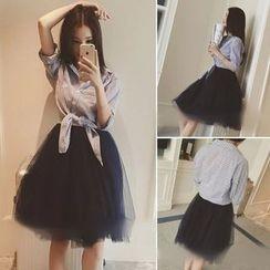 QZ Lady - Set: Striped Shirt + Mesh Strappy Dress