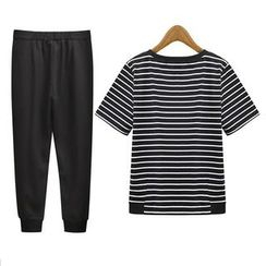 GRACI - Set : Stripe Short-Sleeve T-shirt + Harem Pants