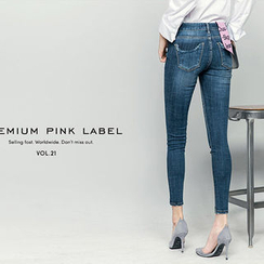 chuu - Distressed Washed Skinny -5kg Jeans