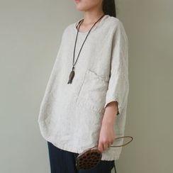 Calo Rosa - 3/4-Sleeve Linen T-Shirt