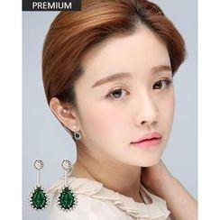 Miss21 Korea - Faux-Gem Teardrop Earrings