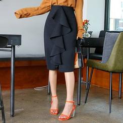 DABAGIRL - Drape-Front Midi Pencil Skirt