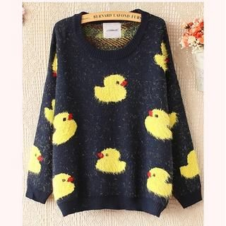 Ringnor - Duck-Print Furry-Knit Sweater