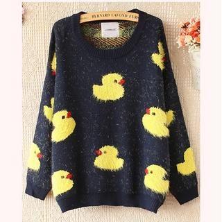 Ringnor - Duck-Print Furry-Knit Sweater