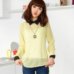 59 Seconds - Polka Dot Collar Sheer Dip-Back Blouse