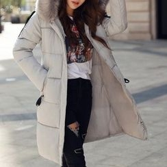 Donnae - Furry Trim Hooded Padded Coat