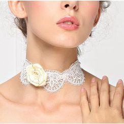 Amina - Rose Accent Lace Bridal Choker