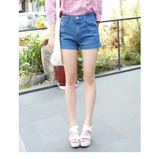 VANILLA SECOND - High-Waist Denim Shorts