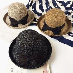 Pompabee - Bow Accent Melange Knit Bowler Hat