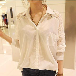 Dream Girl - Lace Inset 3/4-Sleeve Blouse
