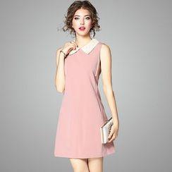 欧依潮派 - 无袖蕾丝领塑身连衣裙