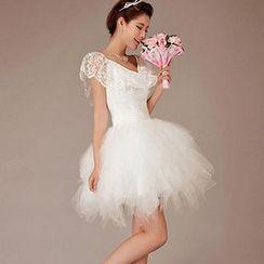 Bridal Workshop - Lace Overlay Mini Prom Dress
