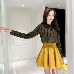 Romantica - Set: Long-Sleeve Tie-Neck Striped Blouse + A-Line Skirt