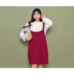 HOTPING - Sleeveless Ribbed Knit Dress