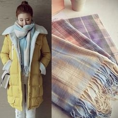 Munai - Fringed Plaid Scarf