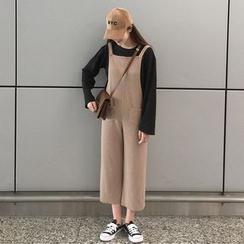 Dute - 套裝: 長袖T恤 + 短款背帶連衣褲