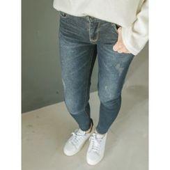 LOLOten - Band-Waist Brushed-Fleece Lined Skinny Jeans