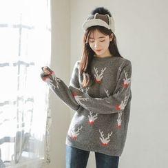 JUSTONE - Deer Pattern Wool Blend Sweater