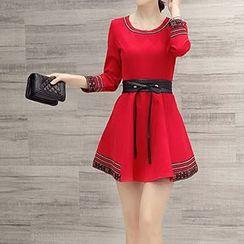 Romantica - Long-Sleeve Printed-Trim Dress