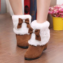 MANMANNI - Faux-Fur Bow-Accent Ankle Snow Boots