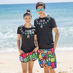 Sunset Hours - Couple Matching Patterned Shorts