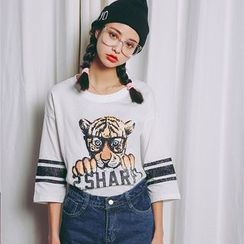 Porta - Tiger Printed 3/4-Sleeve T-shirt