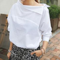 Fashion Street - Boatneck Collared Shirt