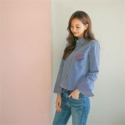 Styleberry - Embroidered Lettering Stripe Shirt