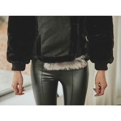 UUZONE - Contrast Faux-Fur Faux-Shearling Jacket