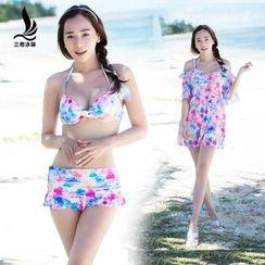 rosiwini - Set: Print Bikini + Cover Dress