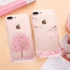 Casei Colour - iPhone 7 / iPhone 7 Plus Cherry Blossom Print Transparent Case