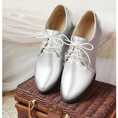 Shoes Galore - Metallic Pointed Oxfords