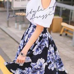 Bongjashop - Floral Print Linen Blend Midi Skirt