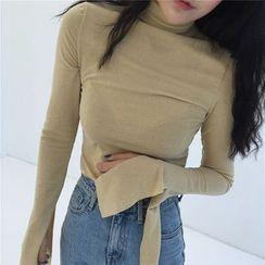 Alfie - Glitter Bell Sleeve Turtleneck Long Sleeve T-Shirt