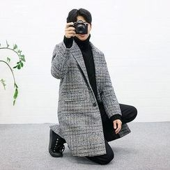 Seoul Homme - Single-Breasted Glen-Plaid Coat