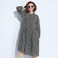 Clover Dream - Leaf Print Long Sleeve Chiffon Dress