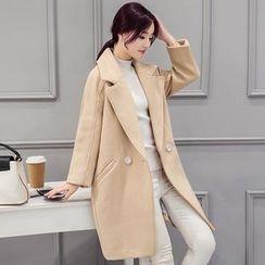 lilygirl - Plain Lapel Knit Coat