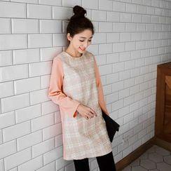 OrangeBear - Long-Sleeve Tweed Dress