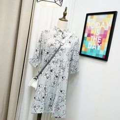 Polaris - Floral Print Elbow-Sleeve Chiffon Dress