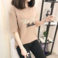 Angel Shine - 笑臉刺繡短袖T恤