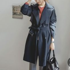 JUSTONE - Epaulet Wide-Lapel Trench Coat with Belt