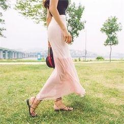 ERANZI - Chiffon-Hem Long Skirt