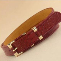 Charm n Style - Faux Leather Croc-Grain Belt