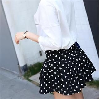 midnightCOCO - Polka-Dot Pleated Mini Skirt