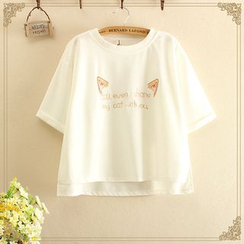 Fairyland - Embroidered Dip-Back Short-Sleeve T-Shirt