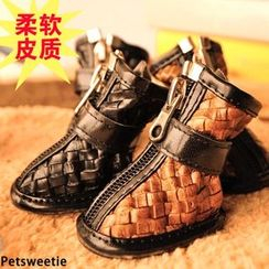 Pet Sweetie - Woven Zip Dog Faux Leather Bootie