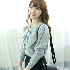 Dodostyle - Wool Blend Bow-Accent Knit Top