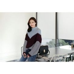 UPTOWNHOLIC - Mock-Neck Color-Block Sweater