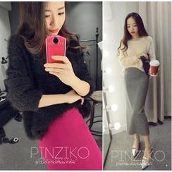 QZ Lady - Set: Cross Strap Furry Sweater + Knit Maxi Skirt